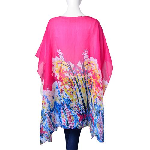 Pink, Yellow and Multi Colour Abstract Pattern Poncho (Free Size)