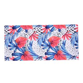 Beach Towel with Floral Pattern (Size 71x144.7 Cm) - White and Multi Colour