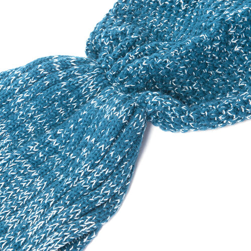 Blue Colour Mermaid Tail Blanket (Size 148x46 Cm)