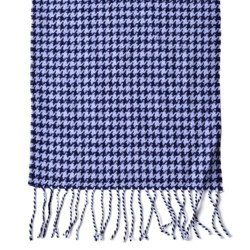 Close Out Deal-90% Wool Blue and White Colour Houndstooth Pattern Scarf with Tassels (Size 190X30 Cm)