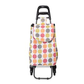 White and Multi Colour Tri Wheeled Leisure Shopping Trolley With Fold Down Seat (Size 95x38x51.5cm)