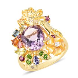 Jardin Collection Rose De France Amethyst Multi Gemstone Floral Ring in Gold Plated Silver