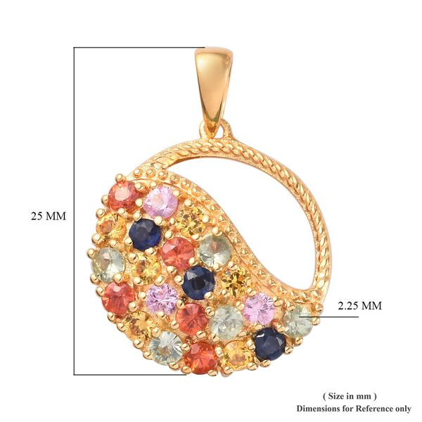 Blue, Orange and Multi Sapphire Pendant in 14K Gold Overlay Sterling Silver 1.25 Ct.