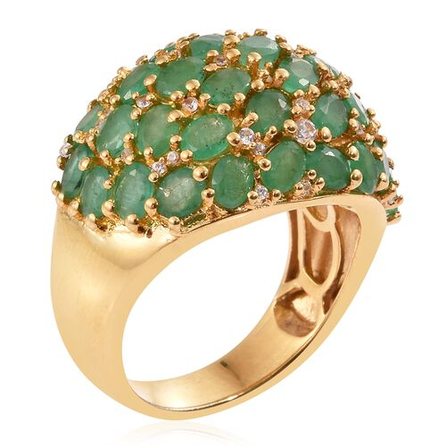 Kagem Zambian Emerald (Ovl), Natural Cambodian Zircon Cluster Ring in 14K Gold Overlay Sterling Silver 5.500 Ct.
