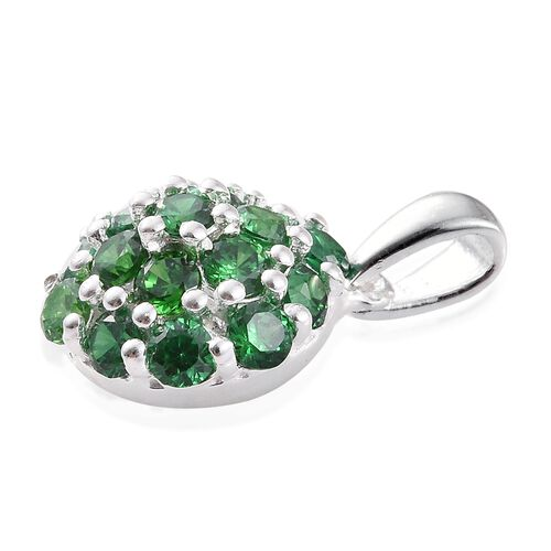 ELANZA AAA Simulated Emerald (Rnd) Floral Pendant in Sterling Silver