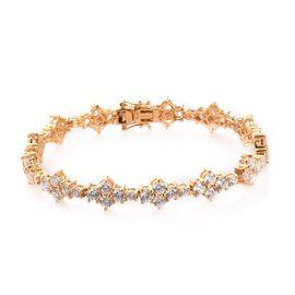 J Francis - 14K Gold Overlay Sterling Silver Bracelet (Size 7.5) Made with SWAROVSKI ZIRCONIA 22.03