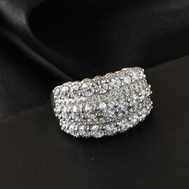 J Francis Platinum Overlay Sterling Silver Cluster Ring Made with SWAROVSKI ZIRCONIA 4.02 Ct.