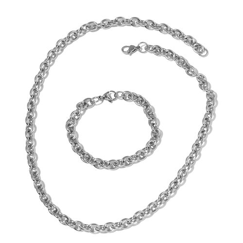 Stainless Steel Rolo Necklace (Size 22) and Bracelet (Size 8)