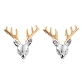 Platinum and Yellow Gold Overlay Sterling Silver Reindeer Stud Earrings (with Push Back), Silver wt