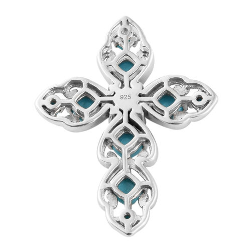 Arizona Sleeping Beauty Turquoise (Cush and Rnd), Natural White Cambodian Zircon Cross Pendant in Platinum Overlay Sterling Silver 2.250 Ct