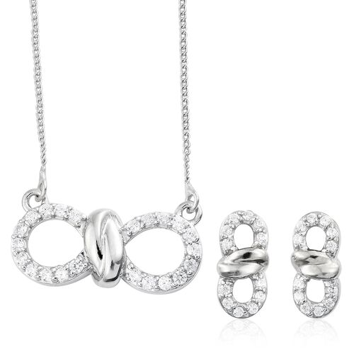 J Francis - Platinum Plated Silver Knot Infinity Pendant with Chain and Stud Earrings Set (with Push