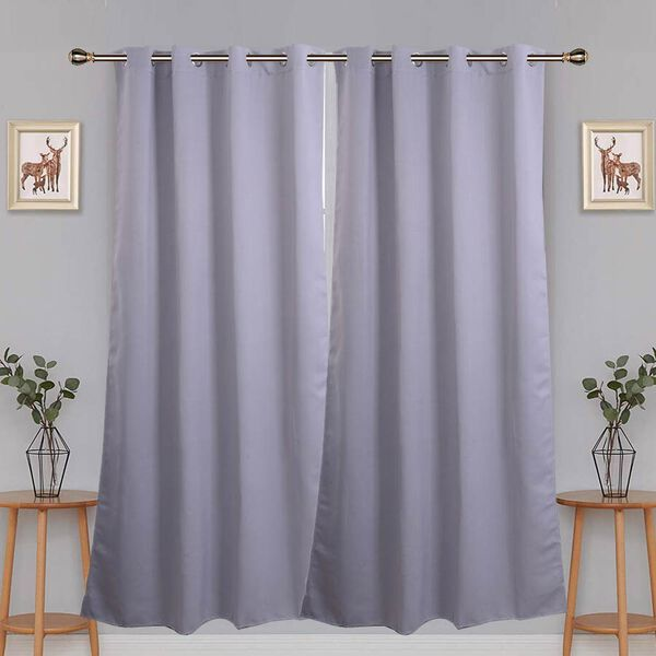 2 Piece Set - Blackout Curtains with Metal Eyelets (Size 140x240cm/Curtain) - Grey