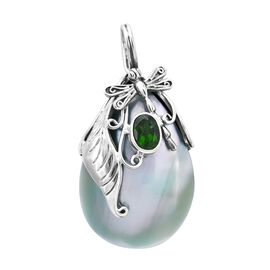 Bali Legacy Collection - Green Mother of Pearl (Pear), Russian Diopside Leaf Dragonfly Pendant in St