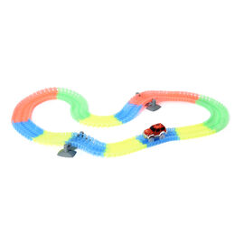 Flexible Glow Racing Tracks and 1 x Bright LED Car - Multi - For Ages 3+. (Requires 1xAA Battery - n