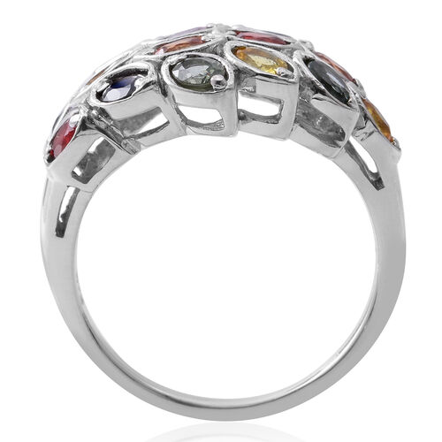 Rainbow Sapphire (Ovl) Cluster Ring in Rhodium Plated Sterling Silver 3.500 Ct. Silver wt 5.40 Gms.