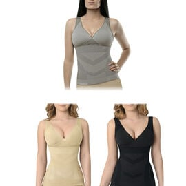 3 Piece Set - SANKOM SWITZERLAND New Aloe Vera/ Bamboo/ Cooling Vest With Incorporated Bra (Size S/M) - Black/ Grey/ Beige Colour