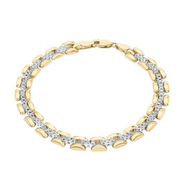 Hatton Garden Close Out Deal- 9K Yellow Gold Simulated Diamond Panther Link Bracelet (Size 7.5) with