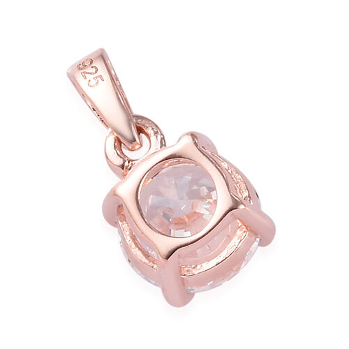J Francis Rose Gold Overlay Sterling Silver Pendant Made with SWAROVSKI ZIRCONIA