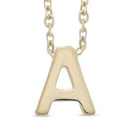9K Yellow Gold Initial-A Necklace (Size 15 with 2 inch Extender)