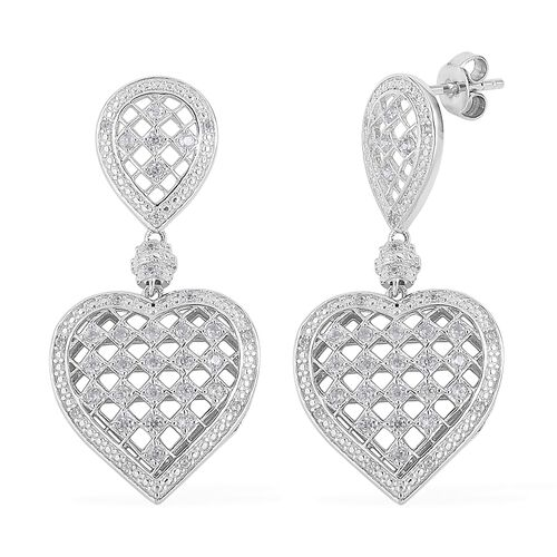 Natural White Cambodian Zircon (Rnd) Heart Earrings (with Push Back) in Rhodium Plated Sterling Silv
