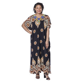 Jovie Black Bohemian Style Printed Long Dress with Embroidered Neckline ( Free Size )