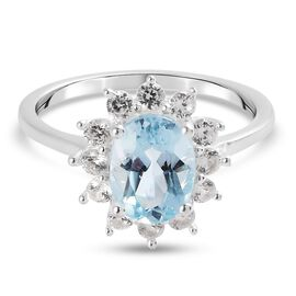 Skyblue Topaz and Natural Cambodian Zircon Halo Ring in Sterling Silver 2.08 Ct.