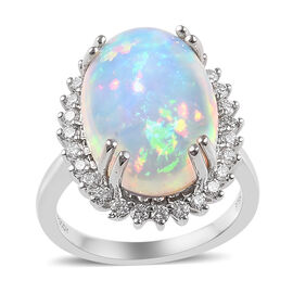 RHAPSODY 950 Platinum AAAA Ethiopian Welo Opal (Ovl), Diamond (VS/E-F) Ring 9.010 Ct.