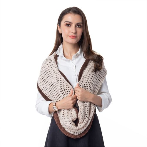 Cream And Brown Colour Pattern Reversible Infinity Scarf (Size 73x24 Cm)