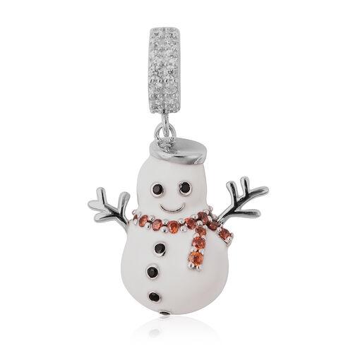 Charmes De Memoire- Simulated Garnet, Simulated Black & White Diamond Snowman Enamelled Charm in Ste