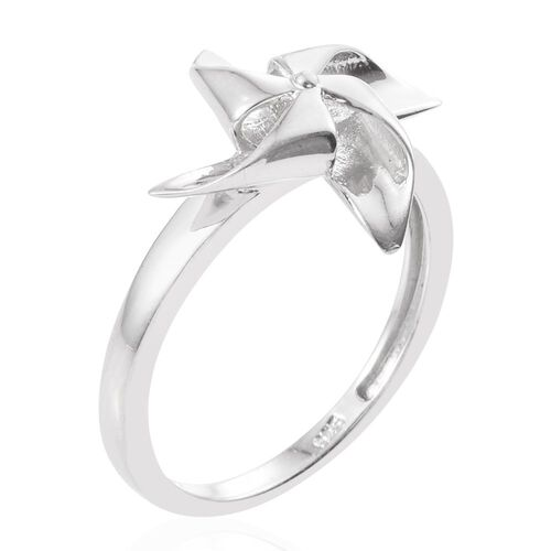 Platinum Overlay Sterling Silver Wind Mill Ring, Silver wt. 2.95 Gms.