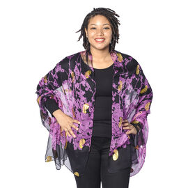 Close Out Deal- LA MAREY 100% Mulberry Silk Black nd Purple Scarf with Golden Embroidery(180x110cm)