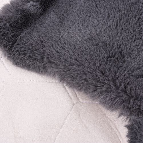Luxuriously Soft Faux Fur Rug in Grey Colour (Size 60x100 Cm)