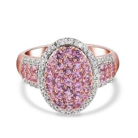 Pink Sapphire and Natural Cambodian Zircon Ring in Rose Gold Sterling Silver 1.720  Ct.