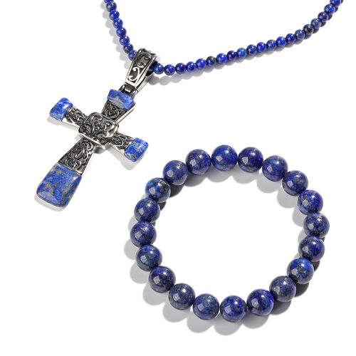 Set of 3 - Lapis Lazuli Stretchable Bracelet (Size 7), Cross Pendant and Necklace (Size 20 with 3.5