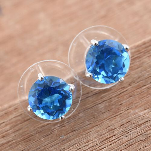 Neon Apatite Colour Quartz (Rnd) Stud Earrings (with Push Back) in Sterling Silver 4.750 Ct.