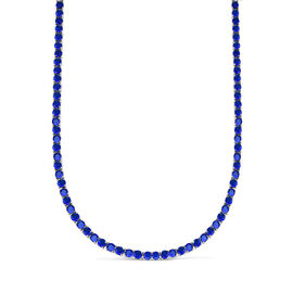 One Time Mega Deal- Simulated Blue Sapphire (Rnd 4mm, 25 Ct Equivalent) Tennis Necklace (Size 19) in