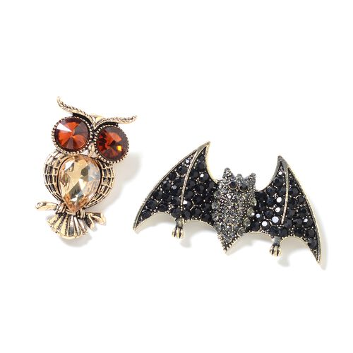 Set of 2 Multi Colour Austrian Crystal (Rnd), Multi Colour Simulated Diamond Bat and Owl Brooch in Gold Plating