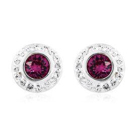 J Francis Crystal from Swarovski - Fuchsia Colour Crystal (Rnd), White Colour Crystal Stud Earrings (with Push Back) in Sterling Silver