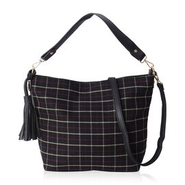 Close Out Deal - Slouchy Style Black Colour Checker Pattern Tote Bag with Tassel and Removable Shoulder Strap (Size 37X12.5X28 CM)