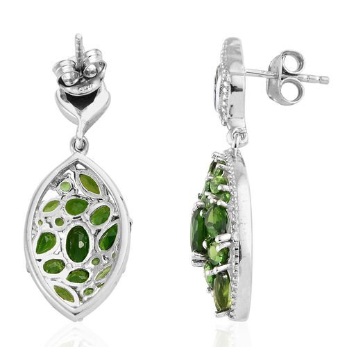 Russian Diopside (Ovl) Marquise Dangle Earrings in Platinum Overlay Sterling Silver 4.690 Ct.