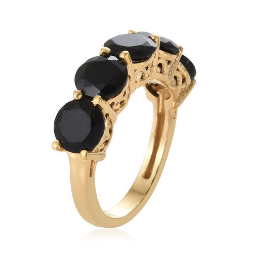 Black Tourmaline (Rnd) Five Stone Ring in 14K Gold Overlay Sterling Silver 3.750 Ct.