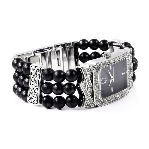 GENOA Japanese Movement Crystal Studded Water Resistant Bracelet Watch with Shungite Beads Stretchable Strap in Natural Stainless Steel 111.60 Ct.