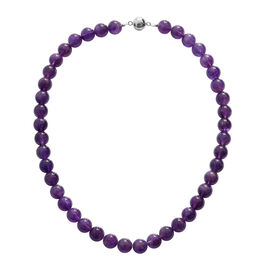 300 Ct Zambian Amethyst Beaded Necklace in Rhodium Plated Silver 18 Inch