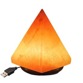 Pyramid Shape Himalayan Salt Lamp with Colour Changing LED & USB Plug (Size 12.5x7 Cm) - Pink 0.5 Kg