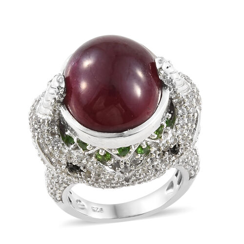 25 Carat African Ruby and Russian Diopside with Multi Gemstones Solitaire Design Ring in Sterling Si