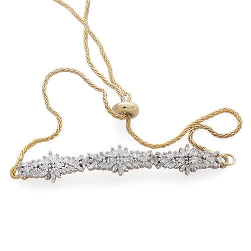 Designer Inspired - Fire Cracker Diamond (Bgt) Floral Adjustable Bracelet (Size 6.5 to 8.5) in 14K Gold Overlay Sterling Silver 0.500 Ct.