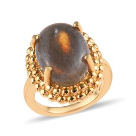 9.75 Ct Natural Bokonaky Fire Labradorite Solitaire Ring in Gold Plated Sterling Silver 6.50 Grams