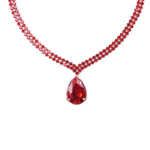 Simulated Ruby and Red Austrian Crystal Necklace (Size 19 with 4 inch Extender)