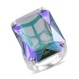 J Francis - Crystal From Swarovski Paradise Shine Crystal (Oct 27x18.5 mm) Ring in Platinum Overlay