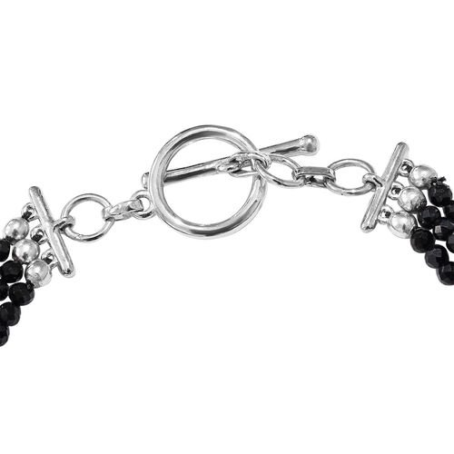 One Time Deal-Tiger Eye (Ovl 25x18 mm) Diamond Cut Natural Black Spinel Bracelet (Size 7.5) in Silver Tone 40.00 Ct.